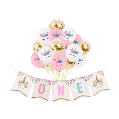 Girls First Birthday Party Decorations, Balloons and Unicorn One Banner