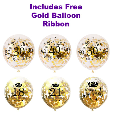 18th, 21st, 30th 40th 50th Balloons x 6, Gold Confetti Birthday Decorations
