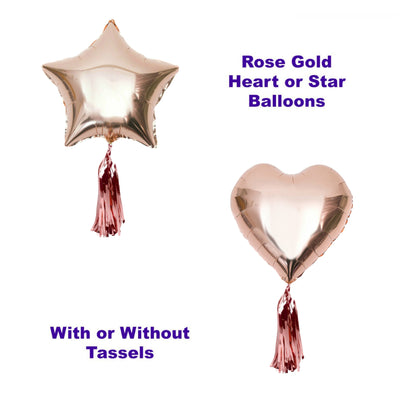 Rose Gold Heart & Star Balloons, Engagement Party, Wedding Balloons