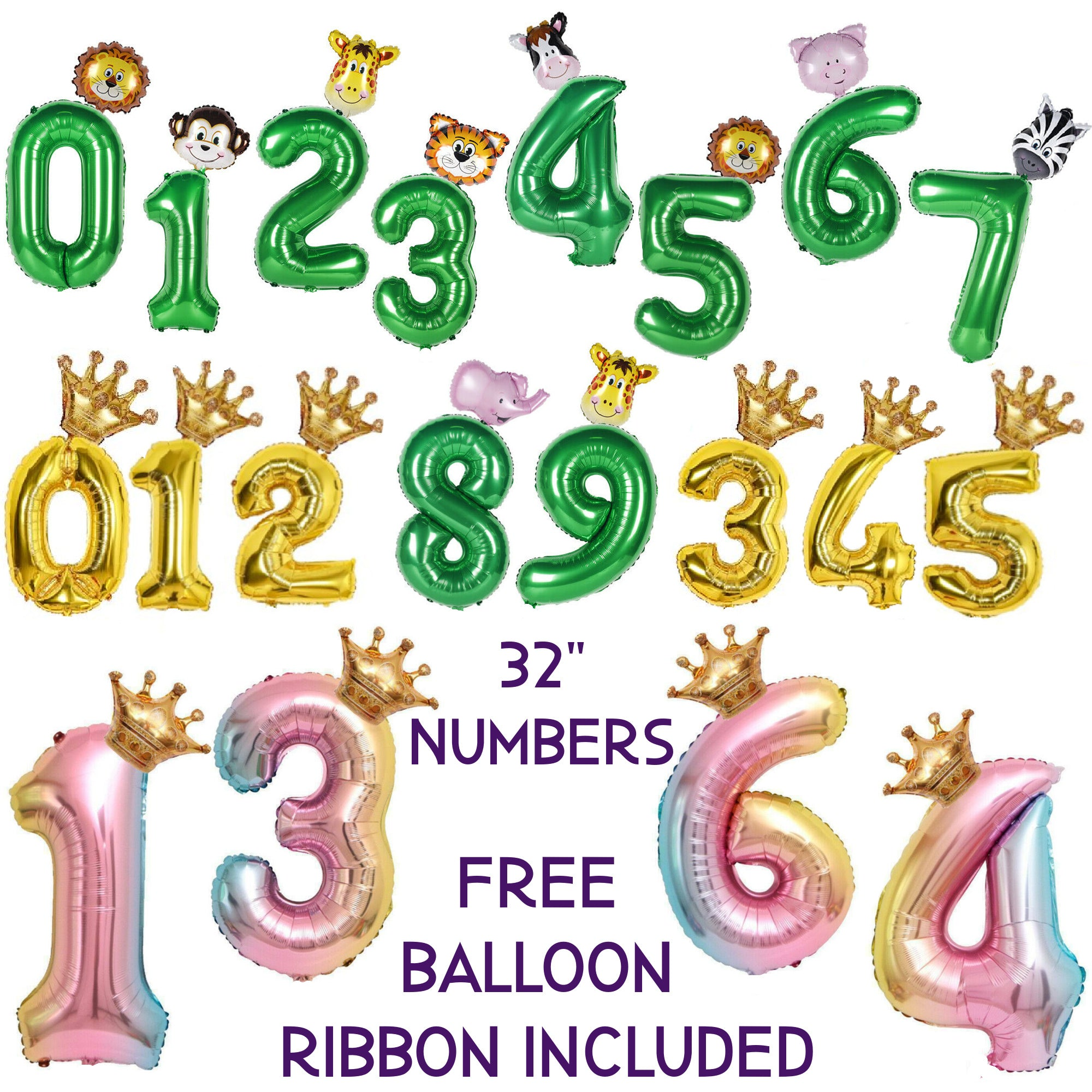 Number Balloons - Jungle Party Decorations, Rainbow Balloons and Gold Numbers
