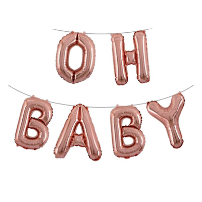 OH BABY Balloons, Rose Gold Baby Shower Decorations