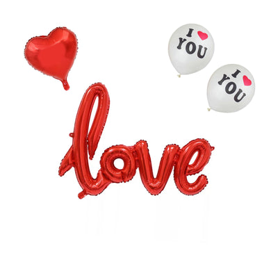 Red Love Balloons Set, I love you Balloons, Heart Balloons