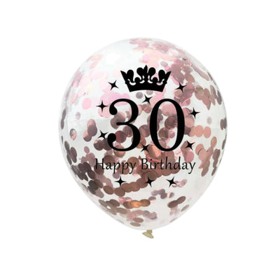 18th 21st 30th 40th 50th 60th Rose Gold Birthday Decorations, Confetti Balloons