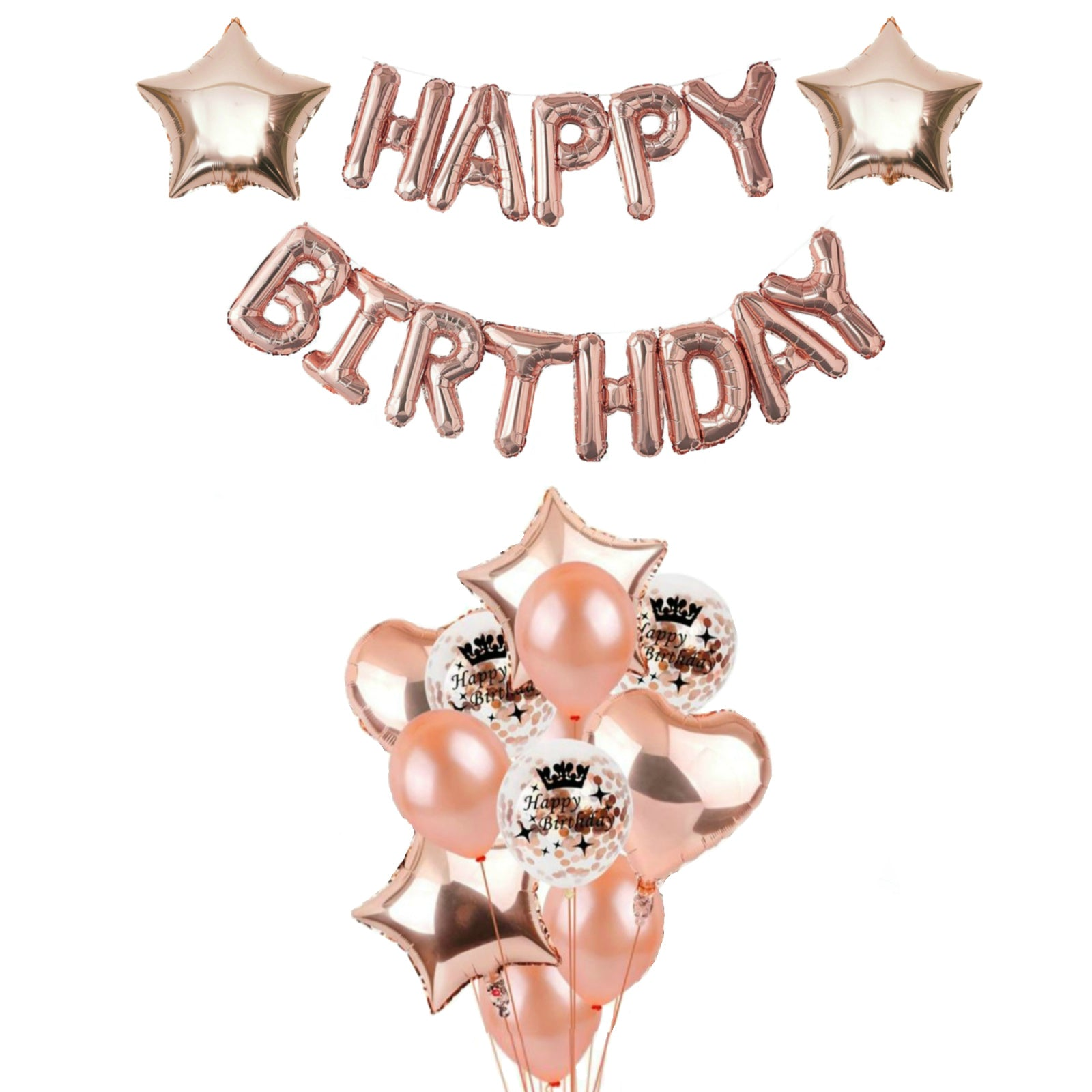 Rose Gold Birthday Decorations, Happy Birthday and Balloon Bouquet