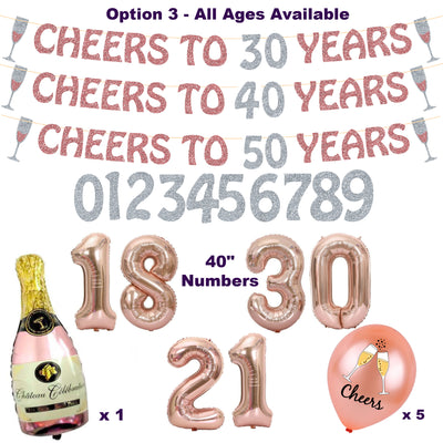 Cheers To Years Decorations, 18, 21, 30, 40, 50, 60 and all Ages - Birthday, Anniversary