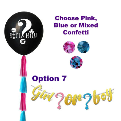 Gender Reveal Decorations, He or She Cupcake Toppers, Games, Banner, Balloons