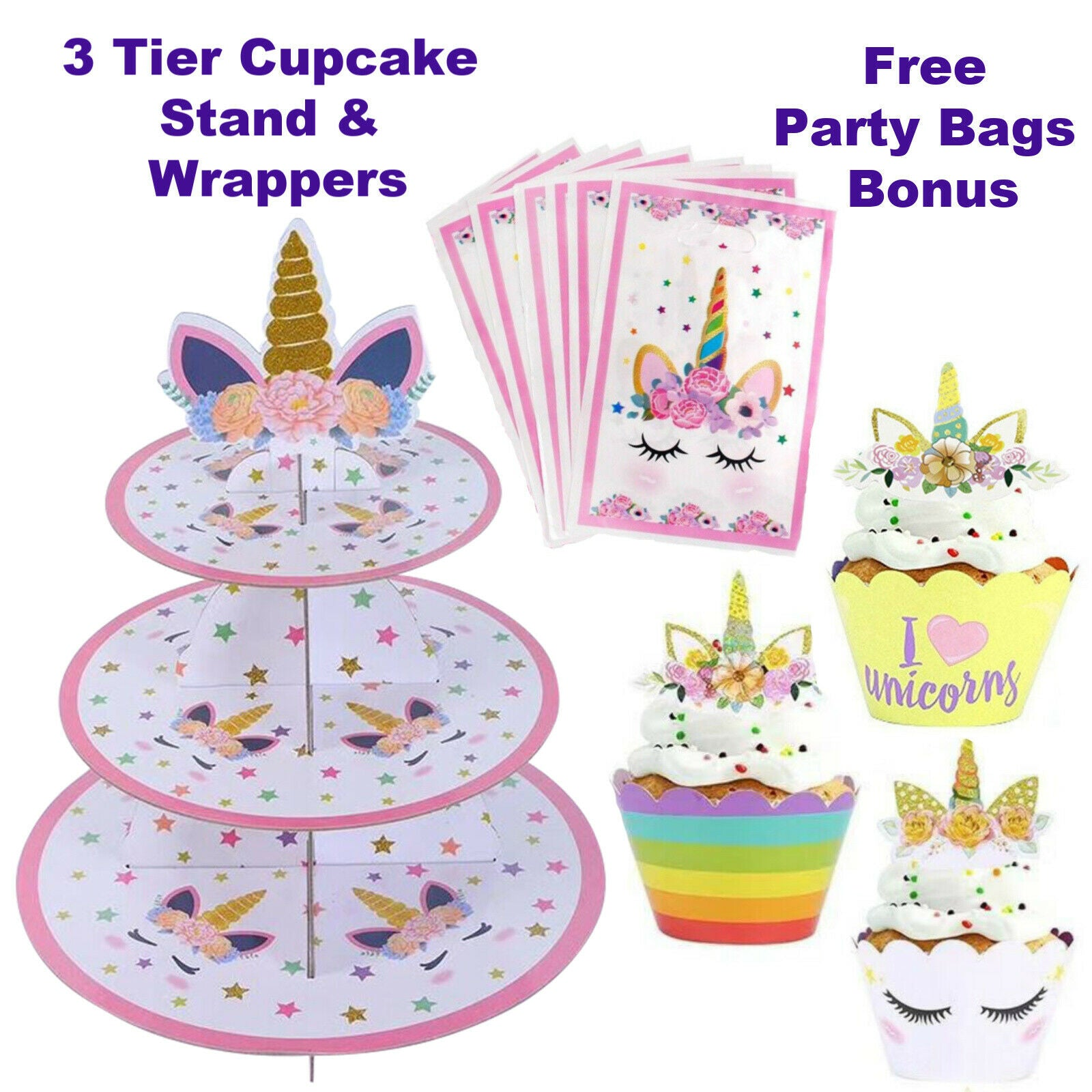 Unicorn Cake Toppers, 3 Tier Cupcake Stand