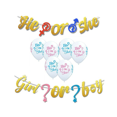Gender Reveal Decorations, Boy or Girl Banner & Balloons