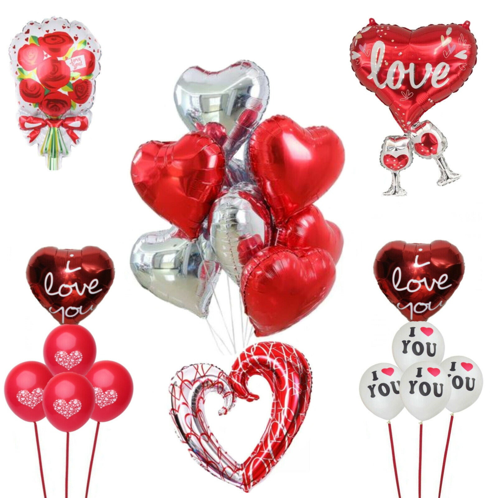 Love Heart Balloon Sets & I Love You Balloons