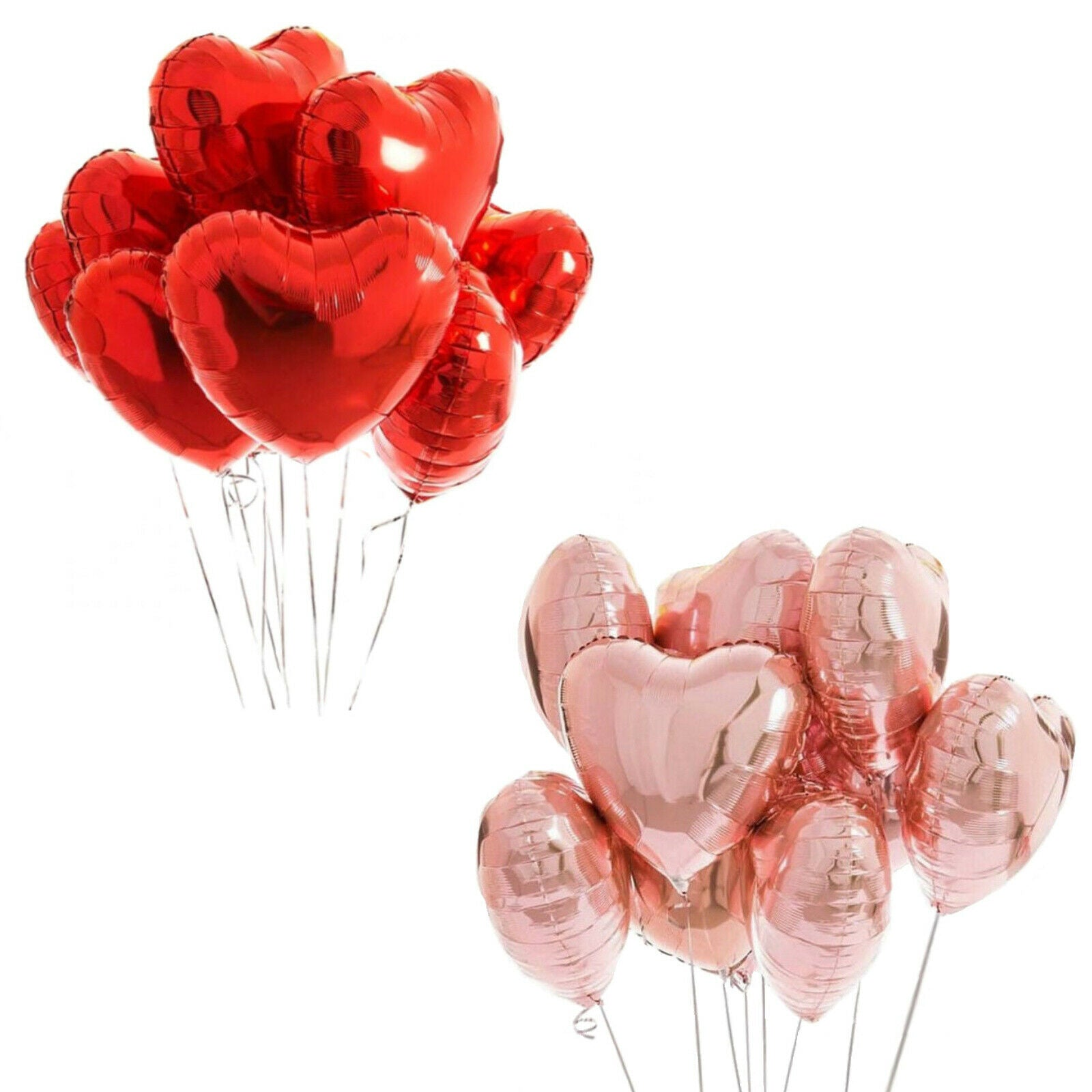 Love Heart Balloons - Rose Gold & Red Helium Foil Hearts