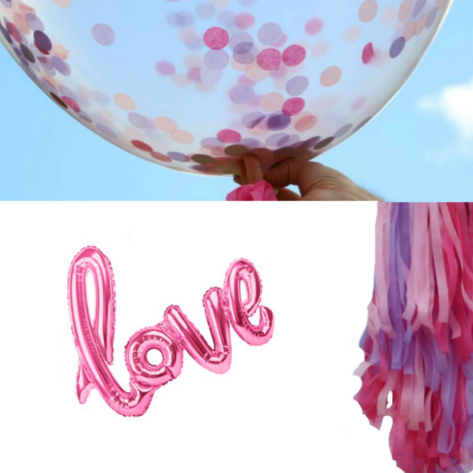 Pink Love Balloons - Bridal Shower Decorations, Girl Baby Shower Balloons