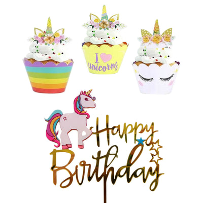 Unicorn Cupcake Wrappers, Happy Birthday Cake Toppers