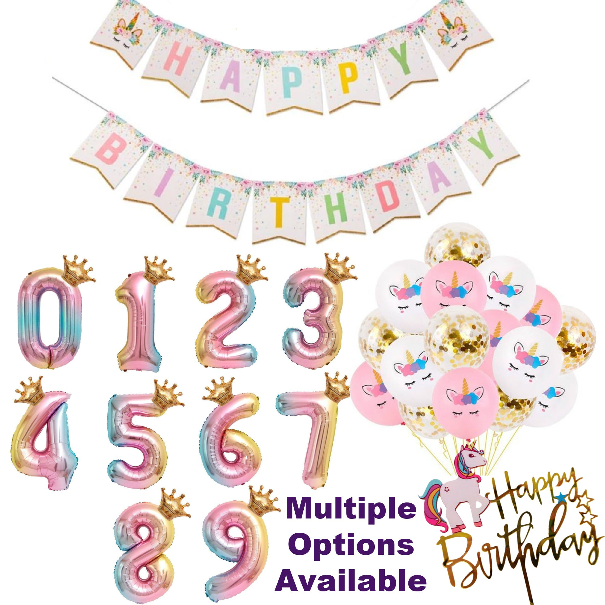 Unicorn Party Supplies and Number Balloons