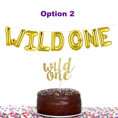 Wild One Cake Toppers and Gold Wild One Cupcake Toppers