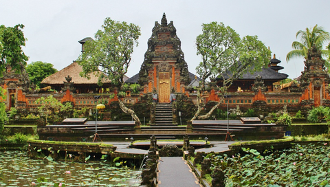 Lotus garden at the Monkey Forest Temple, Ubud, Bali, Indonesia