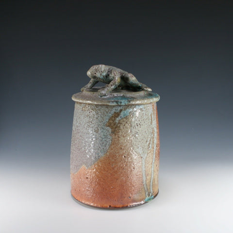 warty toad (or frog) lidded jar, Troy Bungart, 2020 Michiana Pottery Tour