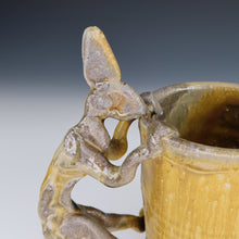 Load image into Gallery viewer, Yellow Wood Fired Rabbit Mug A013