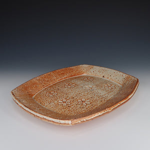 Shino Stamped Flower Plate, A066
