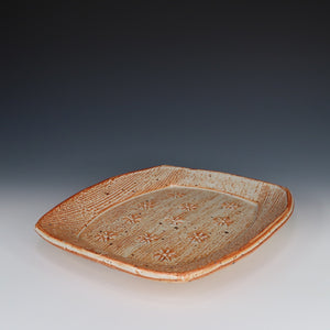 Shino Stamped Flower Plate, A068