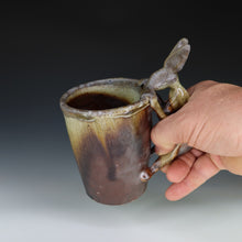 Load image into Gallery viewer, Wood Fired Dark Shino Rabbit Coffee Mug
