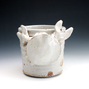 Soda Fired White Shino Crab Coffee Mug 017