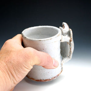 Soda Fired White Shino Turtle Coffee Mug 018