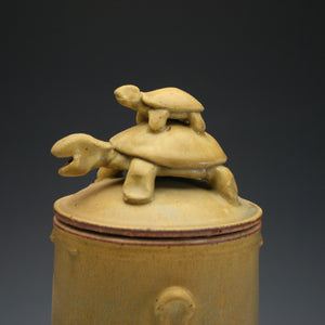 Yellow Turtle Jar, Stoneware