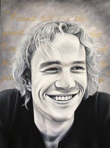 Heath Ledger black and white portrait oil painting quote art by Audrey Jennifer for SPEAK Art Show mental health awareness month suicide depression addiction To Write Love on Her Arms TWLOHA NOVA 535 St. Pete June 15th
