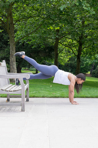 Outdoor workout on park bench