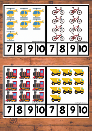 Peg Cards 1-10 Transport Theme