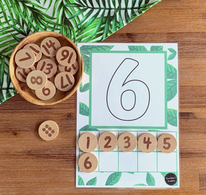 Number Playdough and Loose Parts Ten Frames 1-10