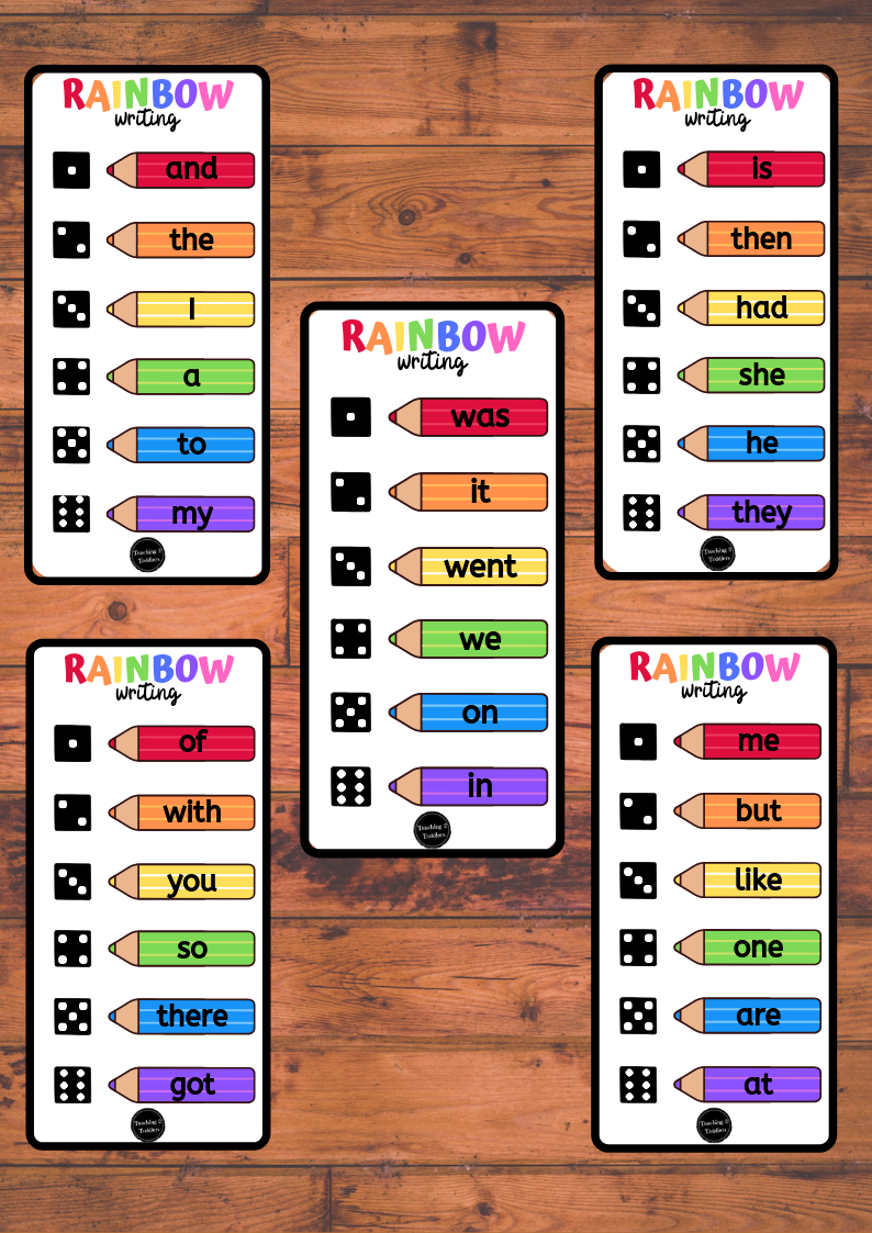 Roll and Write Rainbow Words - 200 High Frequency Words