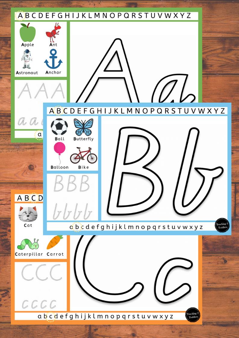 Alphabet Playdough Mats A-Z