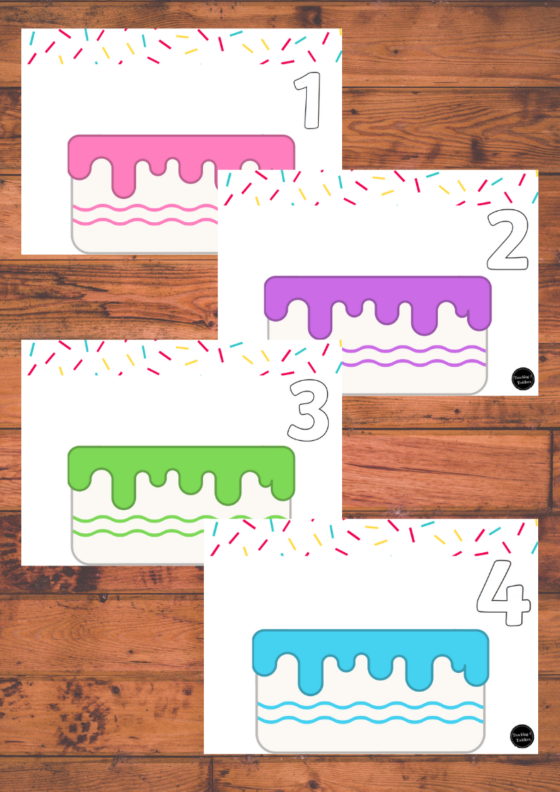 Birthday Candle Number Playdough Mats 1-10