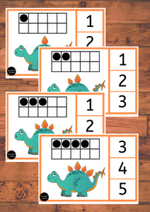 Dinosaur Ten Frame Peg Cards