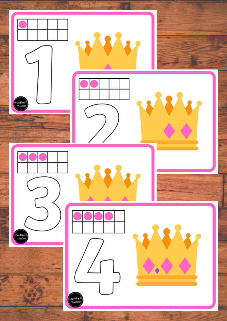 Princess Playdough Number 1-10 Mats