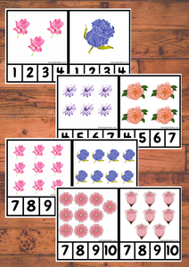 Peg Cards 1-10 Flower Theme