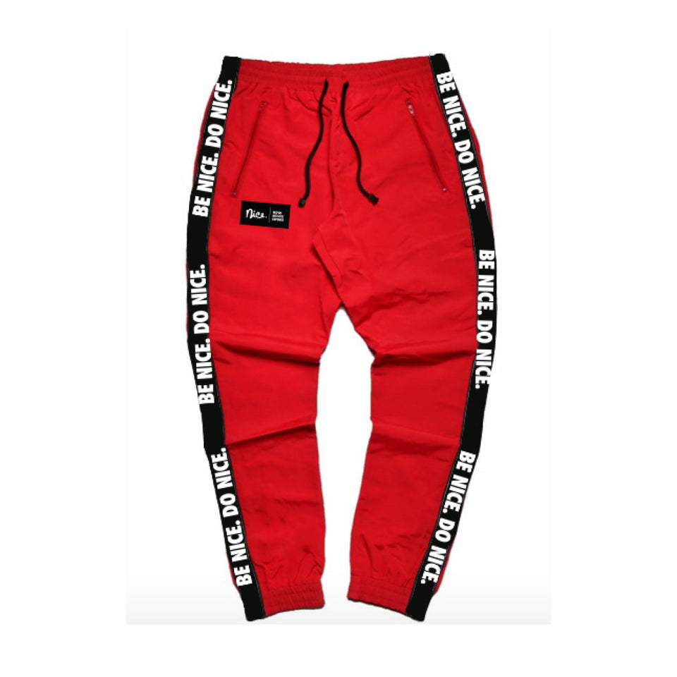 Be Nice Do Nice Taped Joggers (Red)