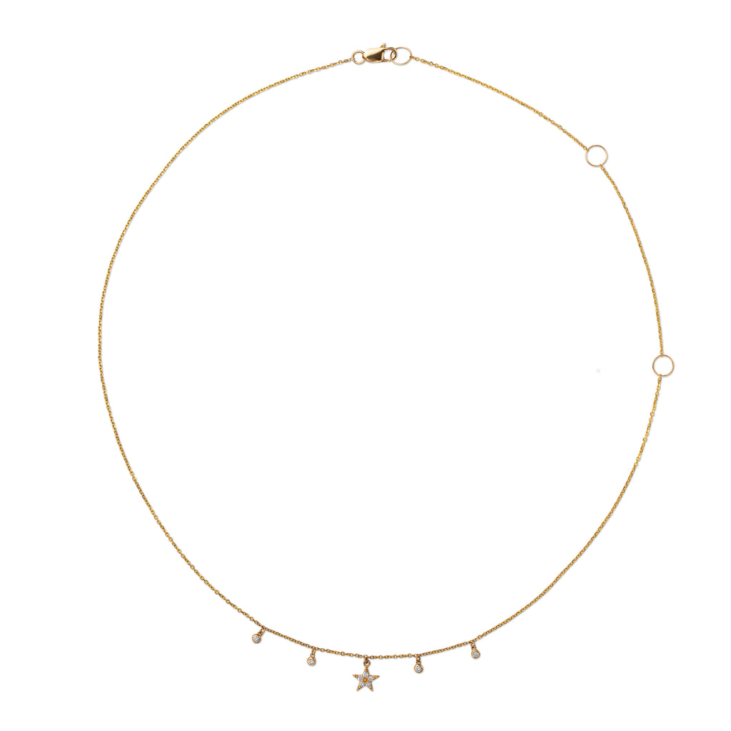 Cosmic 14k Diamond Star Shaker Necklace