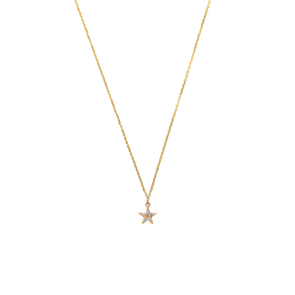 14k Gold Diamond Mini Star Necklace