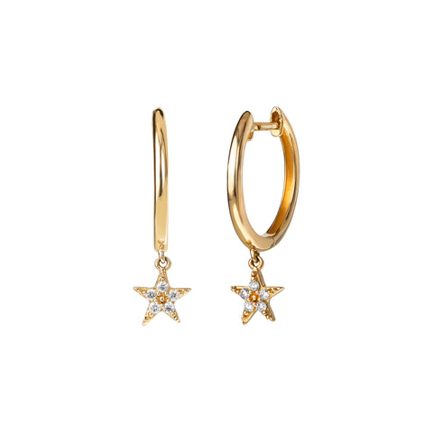 14k Gold Mini Star Huggies