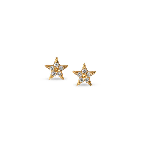14k Gold Diamond Mini Star Studs