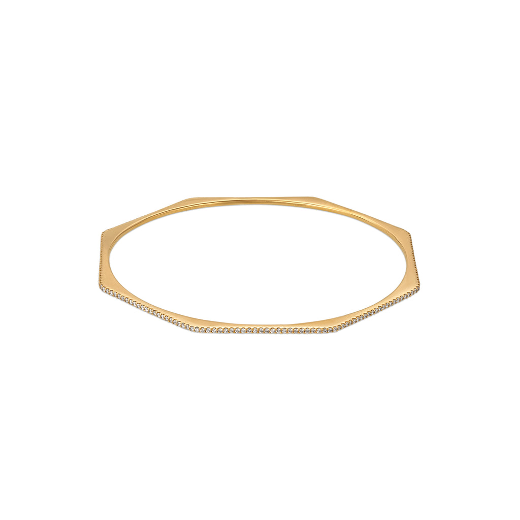 LOURDES 14K GOLD & DIAMOND HEX BANGLE
