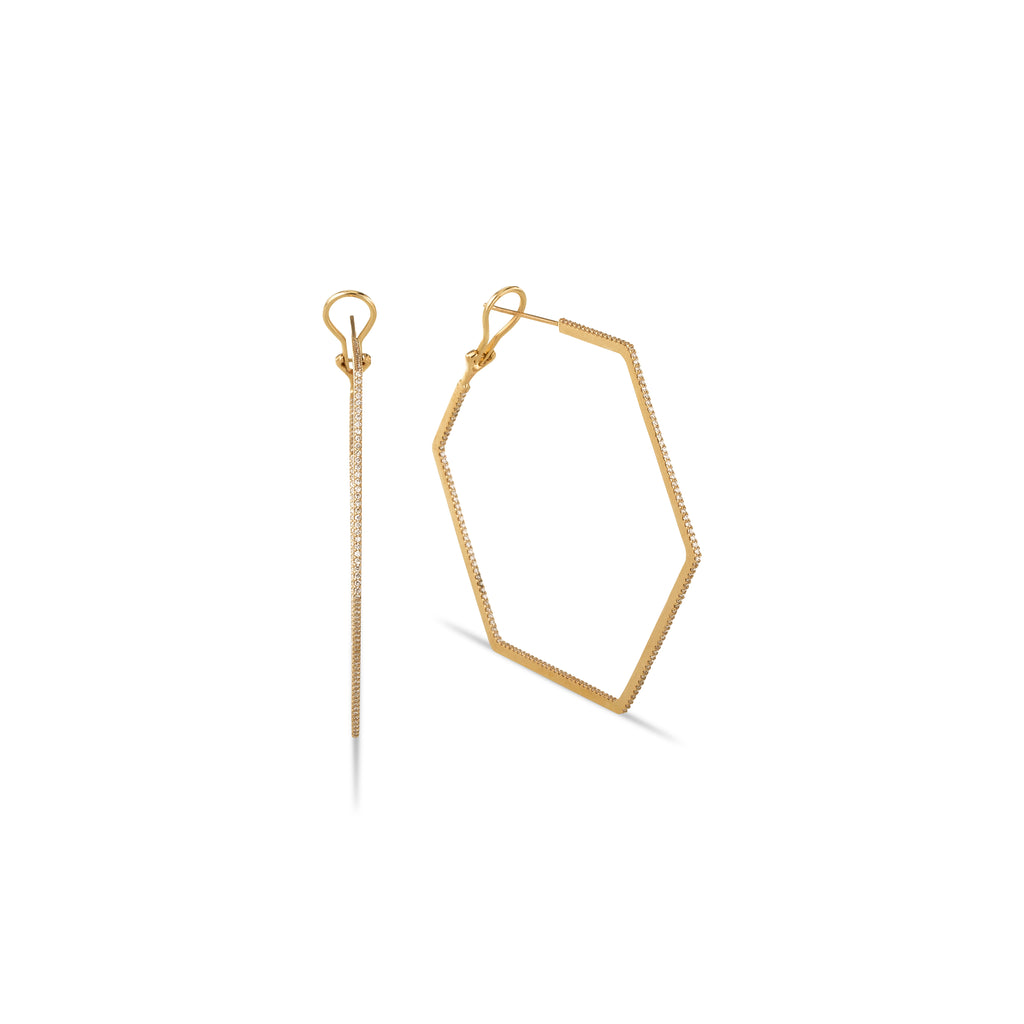DIVINITY 18K GOLD & DIAMOND HEX HOOPS