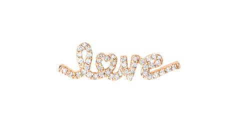 Aiko 14K Gold Pave Diamond Love Ear Cuff