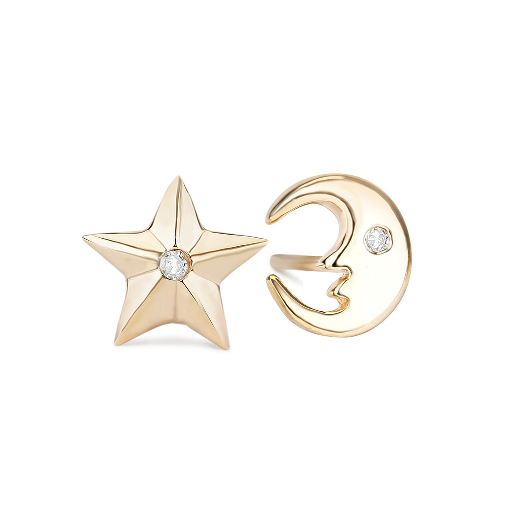 Cira Diamond Moon & Star Stud