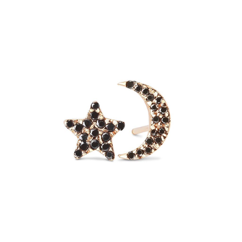 New Moon Diamond Moon & Star Studs