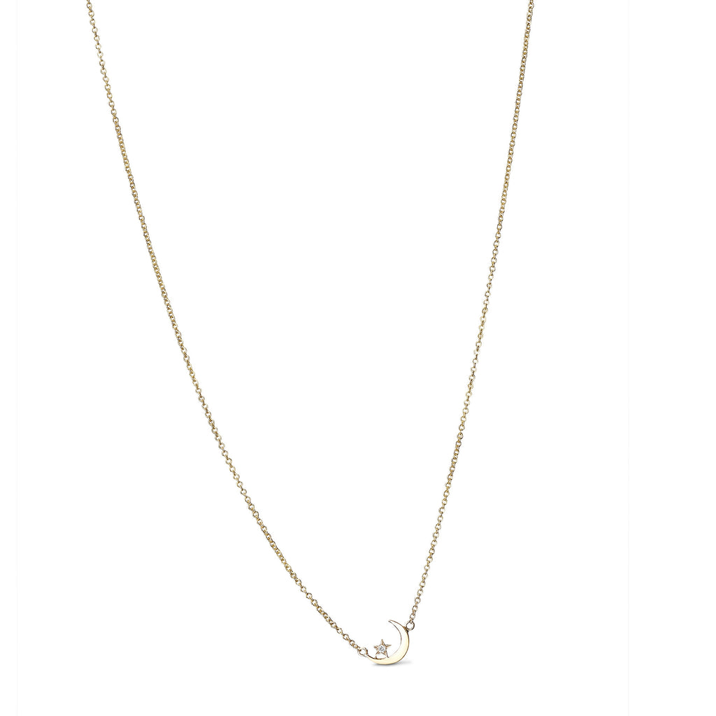 Lunetta 14K Gold Mini Moon & Star Necklace