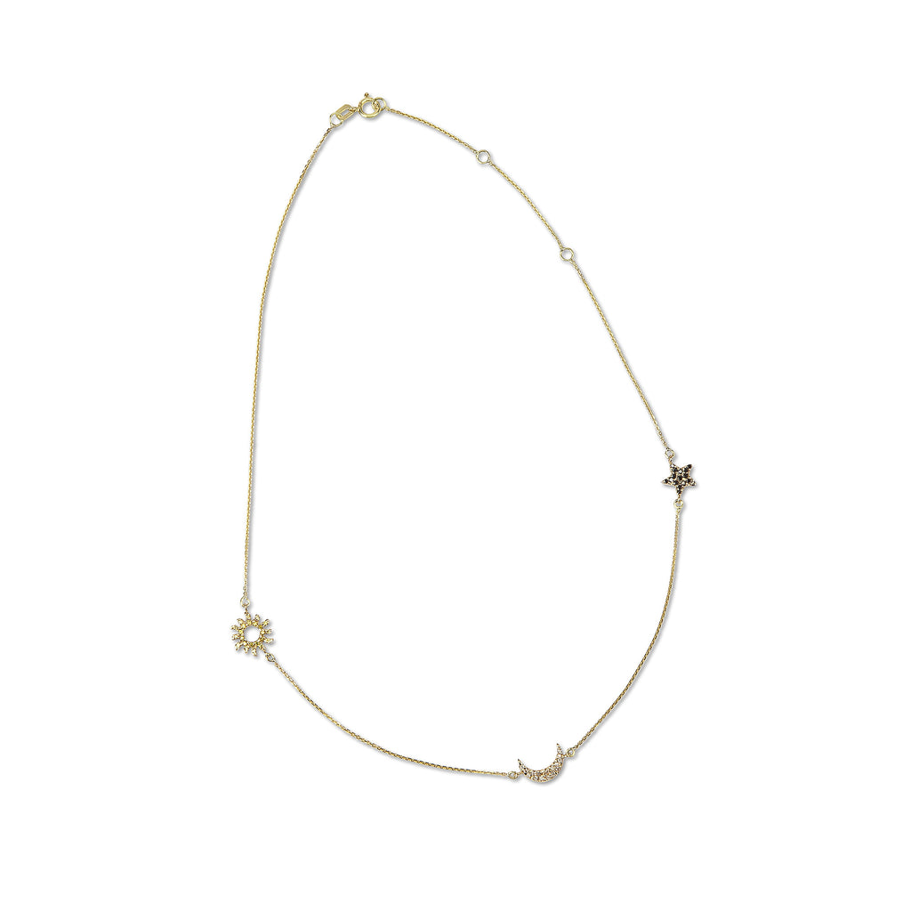 TRES CHIC 14K GOLD DIAMOND SUN, MOON & STAR STATION NECKLACE