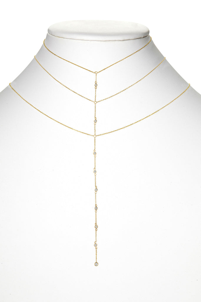 ZOE 14K GOLD THREE TIER DIAMOND BEZEL NECKLACE